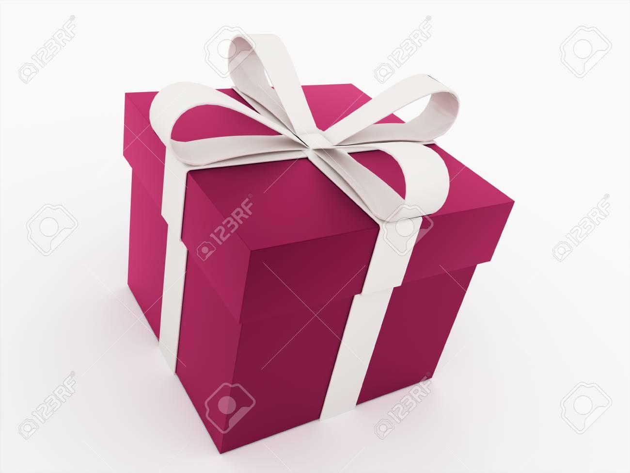 Cadeau De Noël Rose Avec Un Ruban Rendu Banque D'Images Et Photos