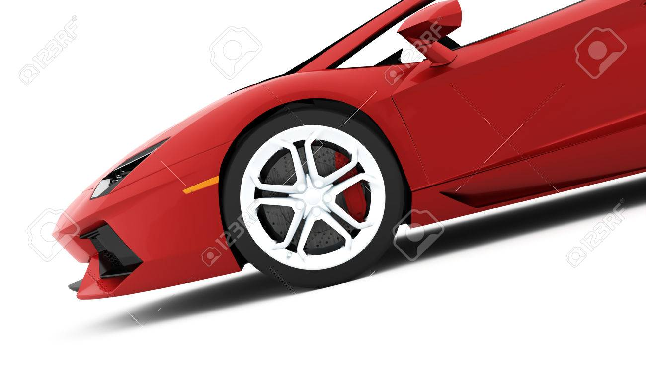 Red Race Car Detail Rendered On White Background Stock Photo - 61397148
