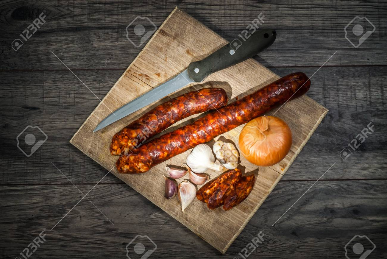 Smoked Sausage Homemade Sausage With Onion And Garlic On Wooden