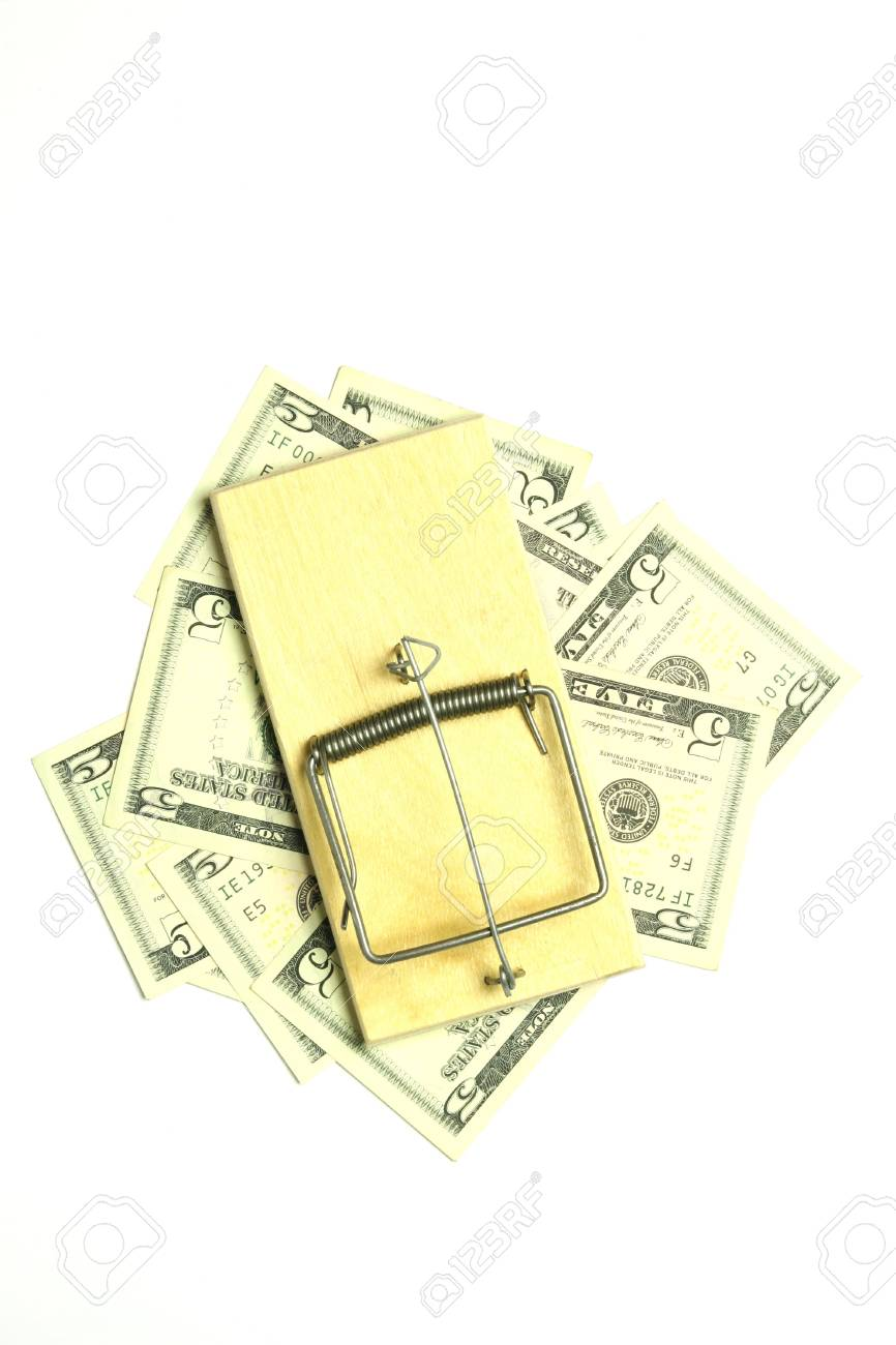 mousetrap and dollar bills on white background Stock Photo - 7670901