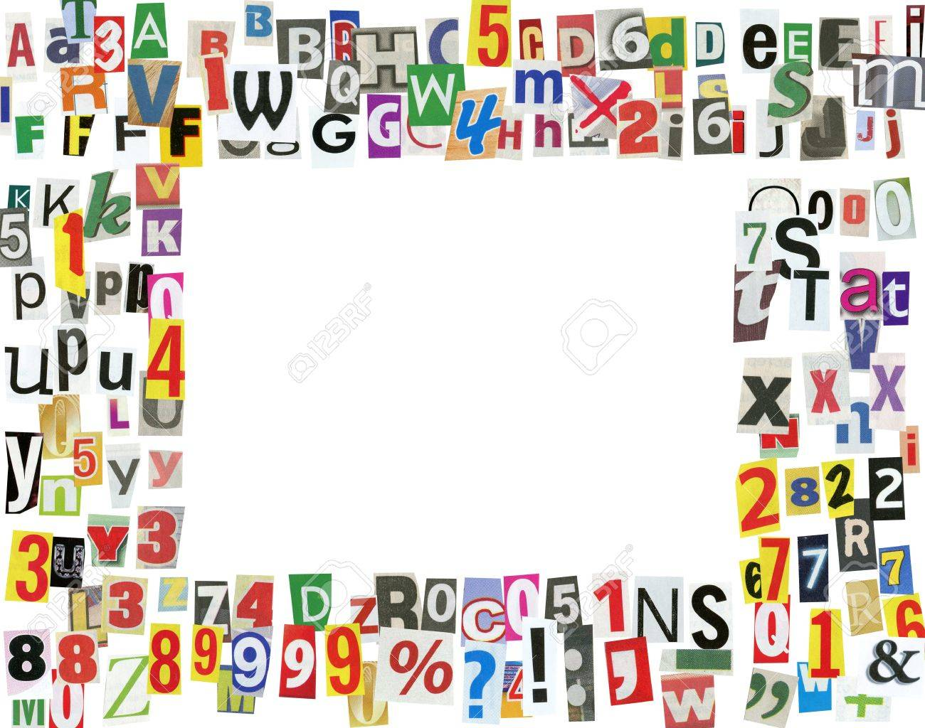 Picture Frame, Made Of Newspaper Letters, Numbers And Punctuation ...