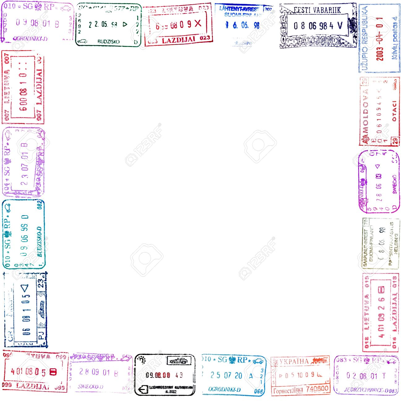 Colorful Passport Stamps Frame For Your Design Stock Photo, Picture ...