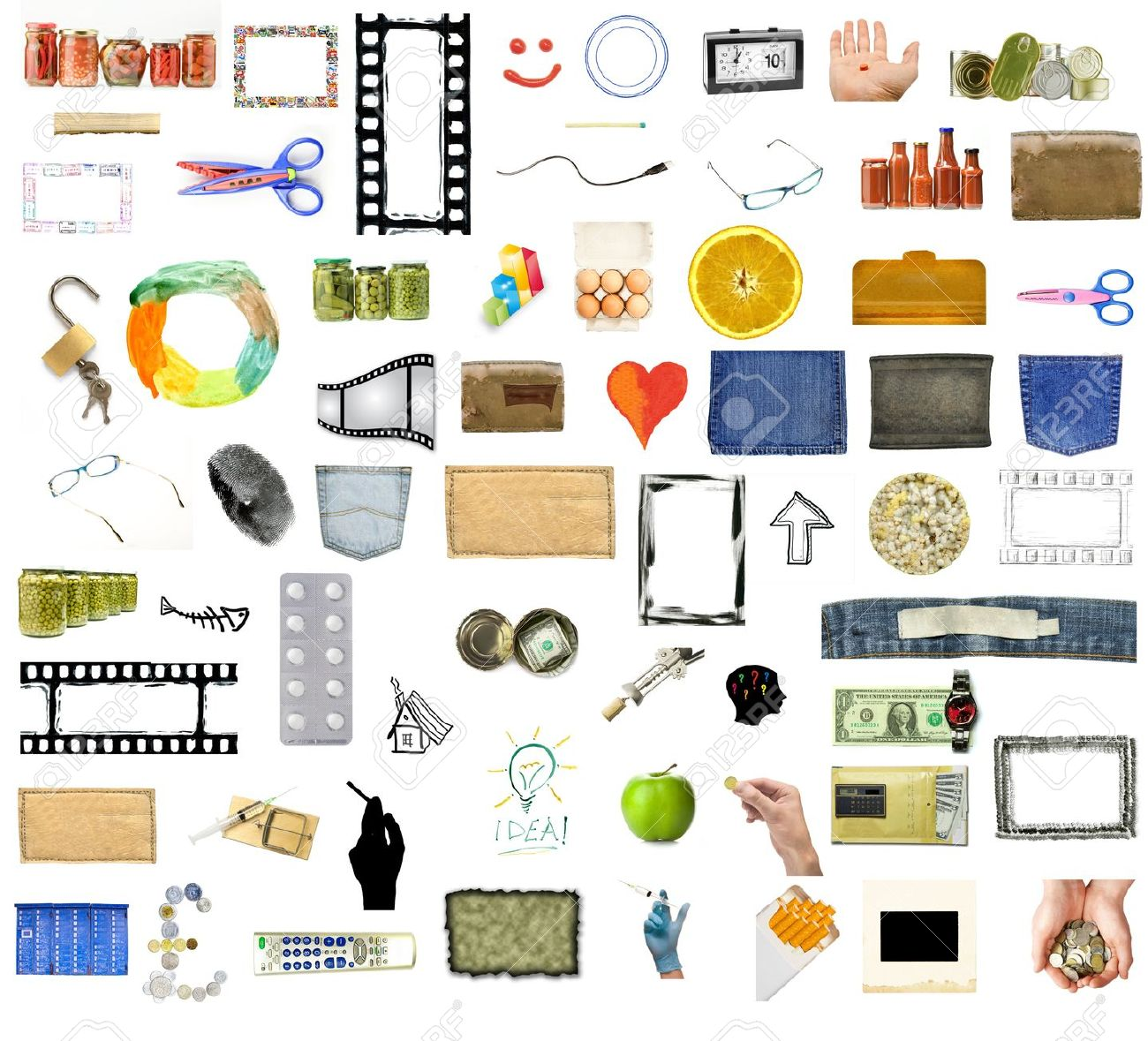 Collection of many objects isolated on white background Stock Photo - 11726705