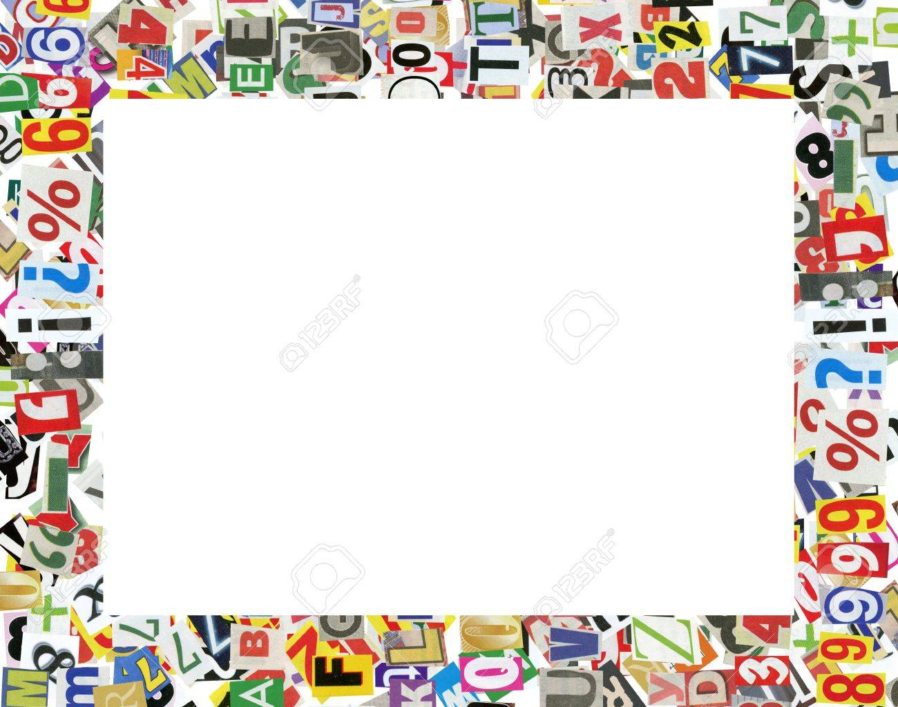 picture frame made of newspaper letters numbers and punctuation marks isolated on white