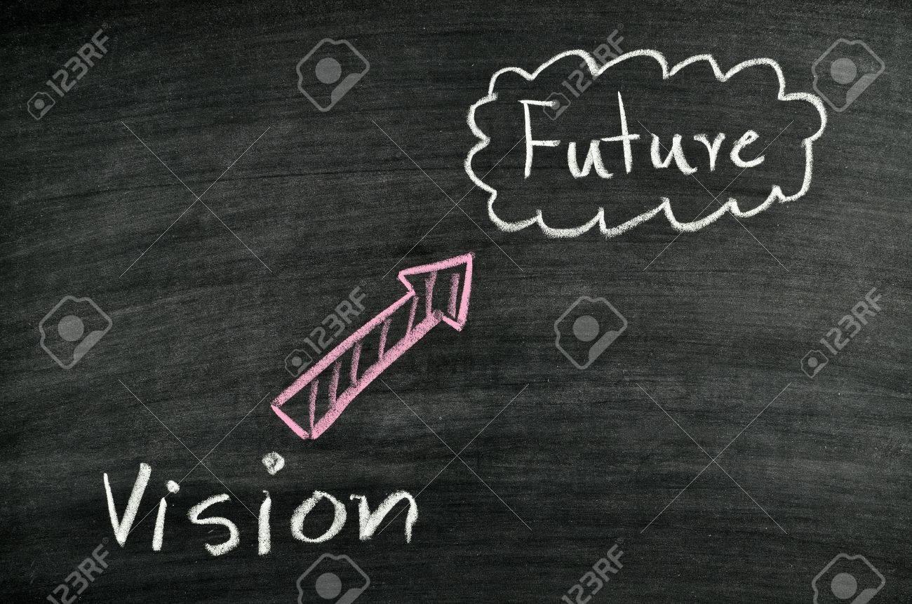 vision and future written on blackboard Stock Photo - 17728564