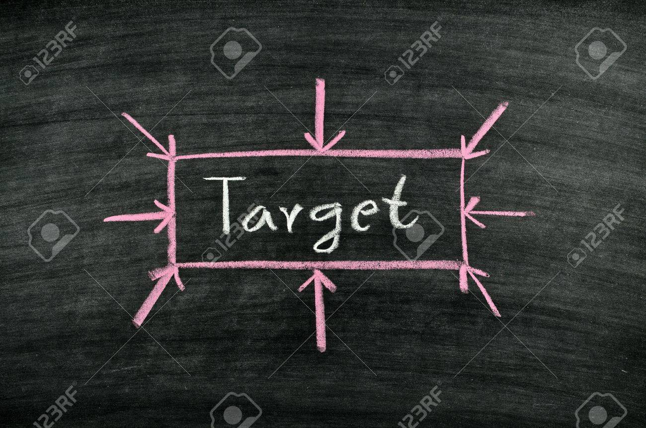 the word target written on blackboard Stock Photo - 17728566