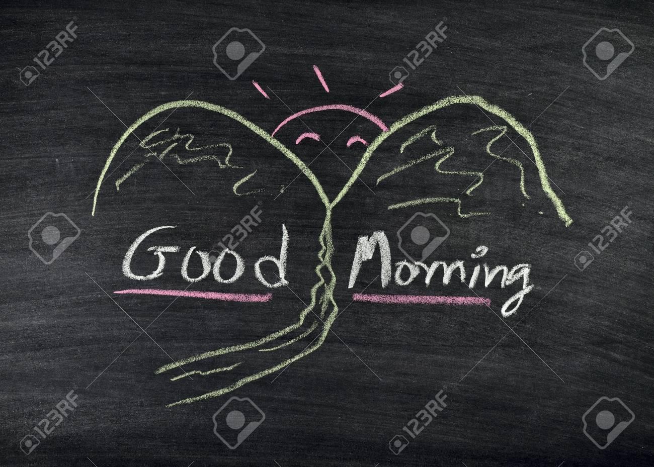 good morning title written on blackboard Stock Photo - 17926038
