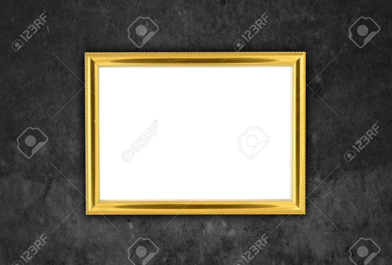 bdcf21498ff wooden frame at grunge wall texture with clipping path Stock Photo -  19884418