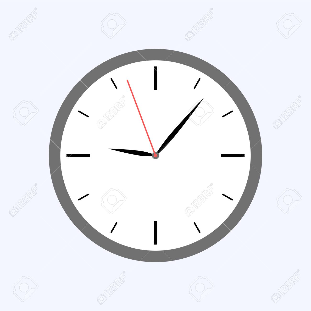 Gray clock flat style isolated on blue background - 122626633