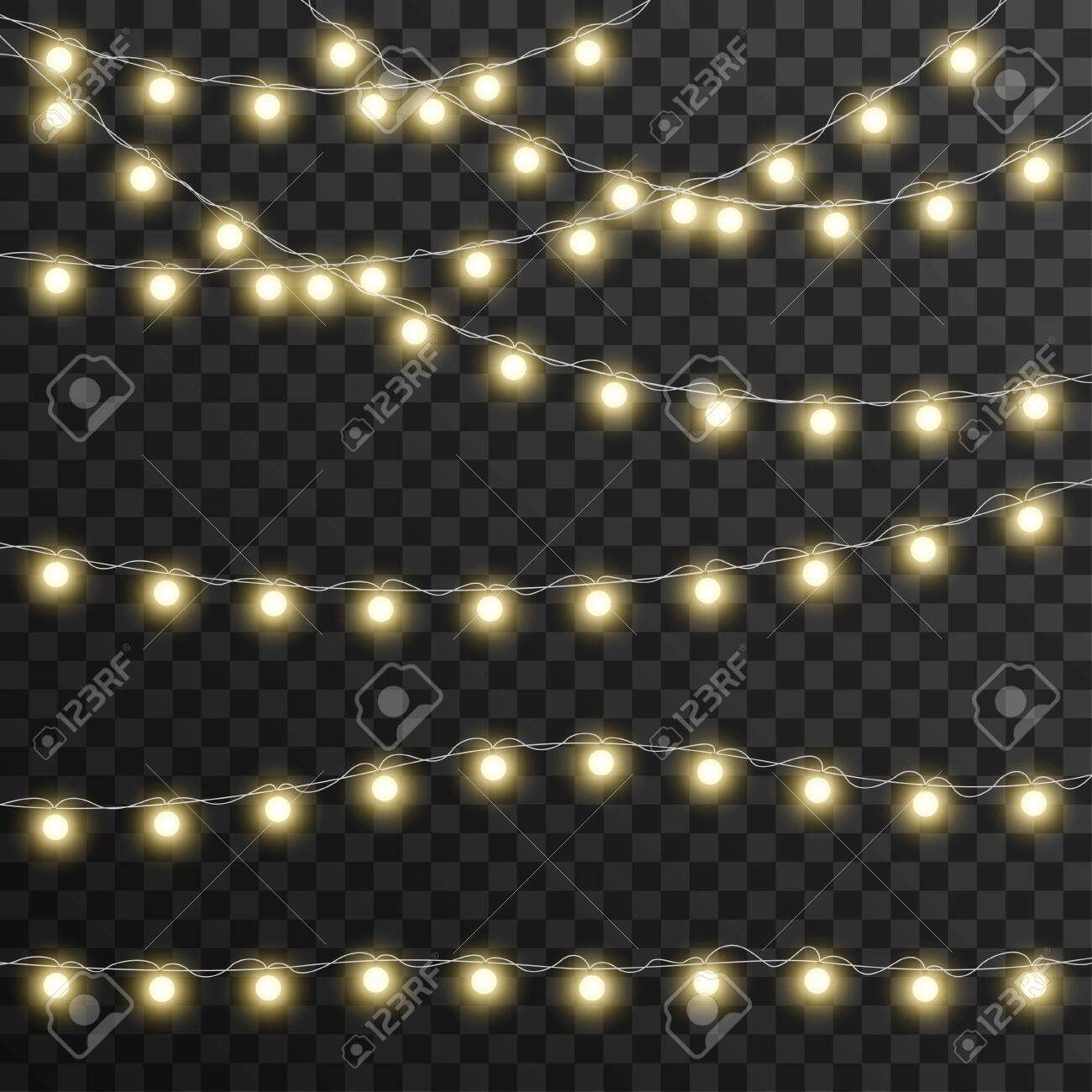 Christmas lights isolated on transparent background, vector illustration - 131244624