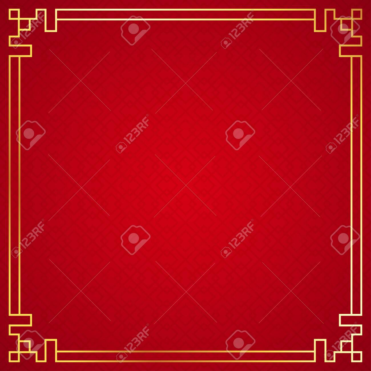 Oriental chinese border ornament on red background, vector illustration - 134012634