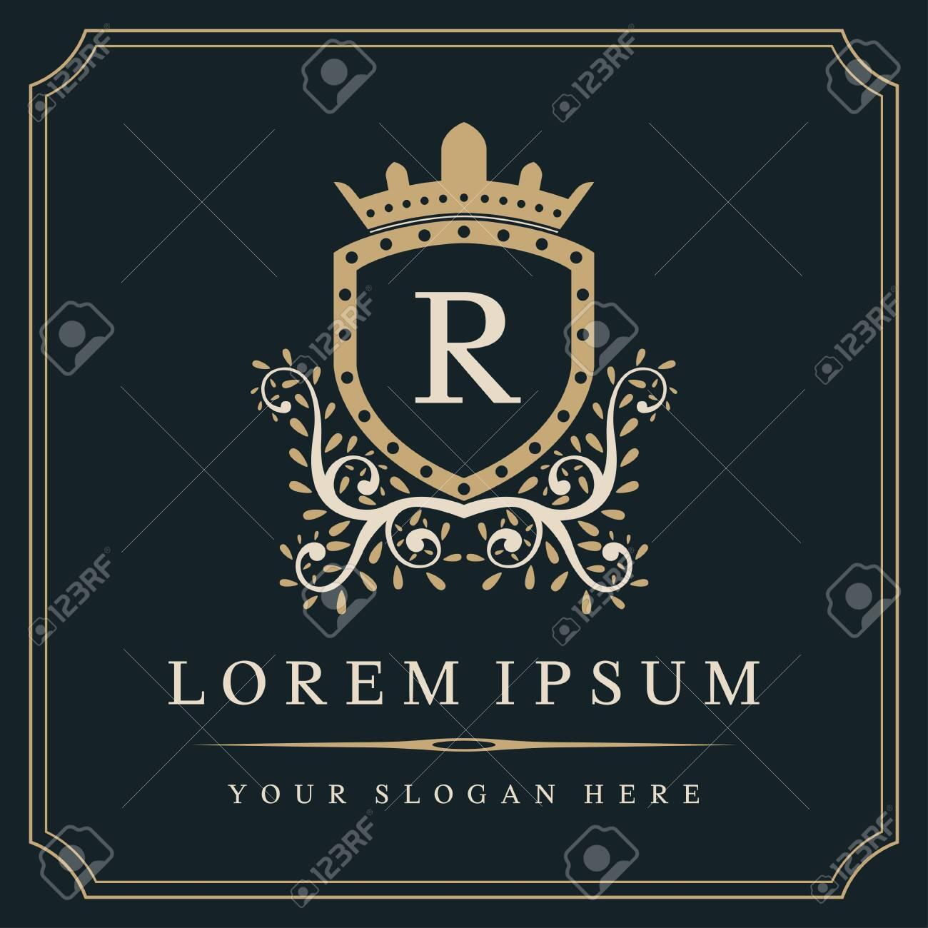 Luxury monogram logo template, letter R logo design, vector illustration - 141118522
