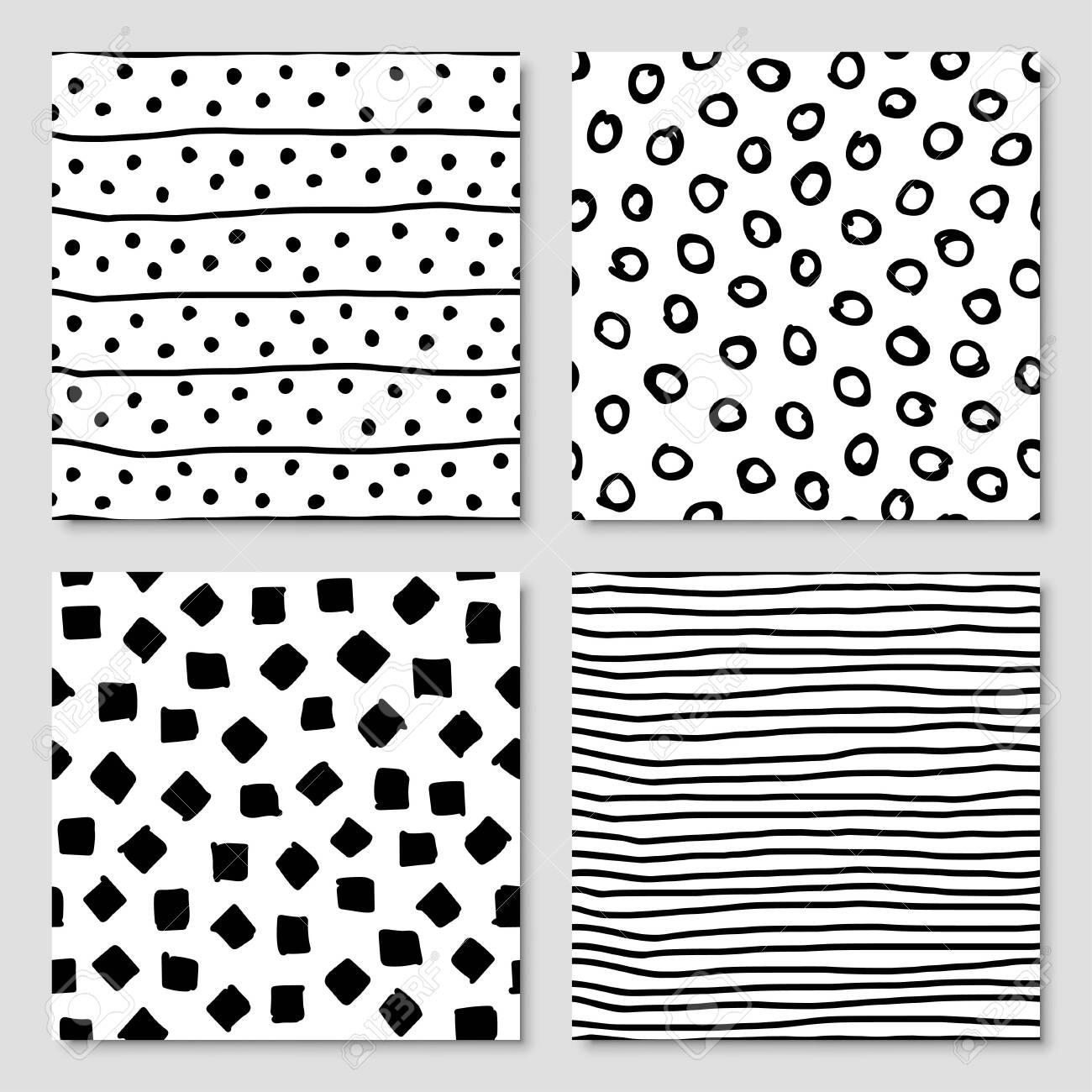 Set of hand drawn ink seamless pattern, vector illustration - 145128115
