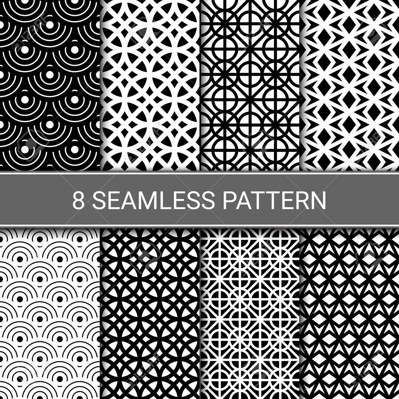 Set of abstract geometric seamless patterns, vector illustration - 145843604