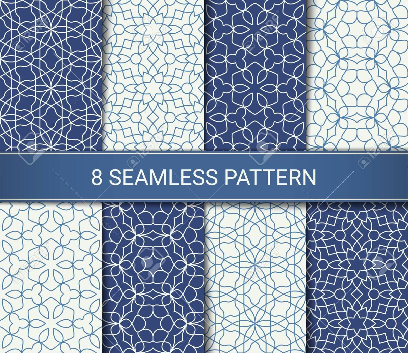 Set of abstract geometric seamless patterns artwork, vector illustration - 146670994