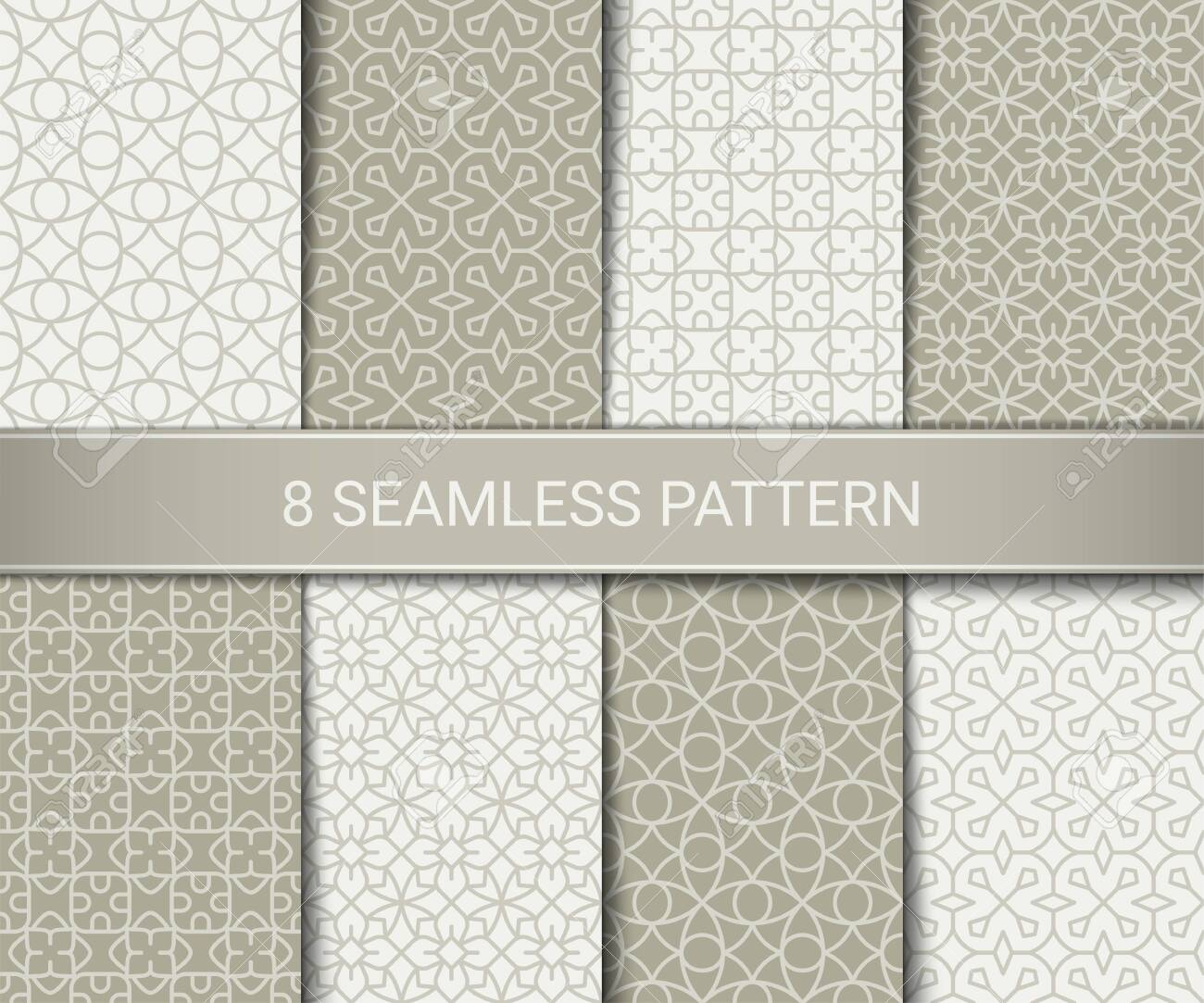 Set of abstract geometric seamless patterns artwork, vector illustration - 146671009