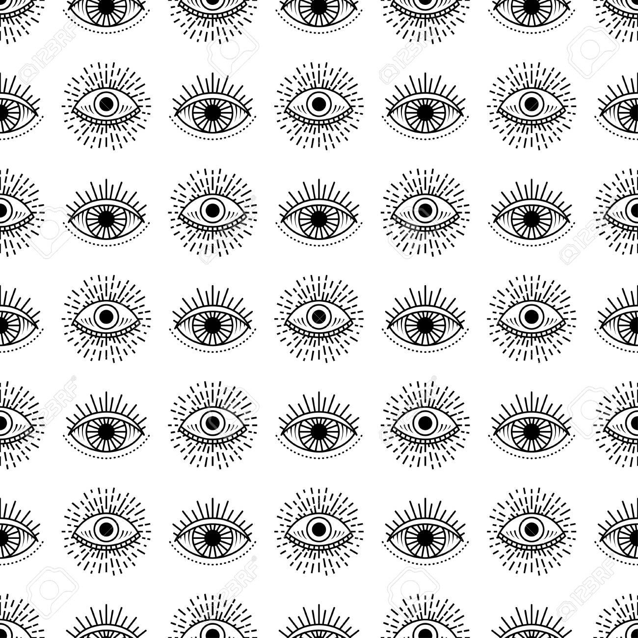 Seamless pattern with hand drawn eye, illustration - 150653027