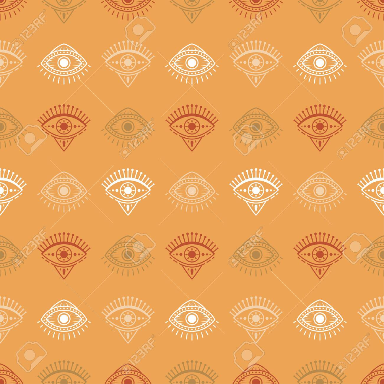 Seamless pattern with hand drawn eye, vector illustration - 150666989