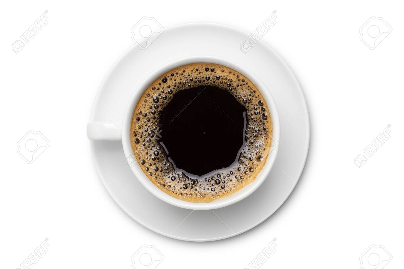 coffee black in white ceramic cup, top view isolated on white background. - 126184551