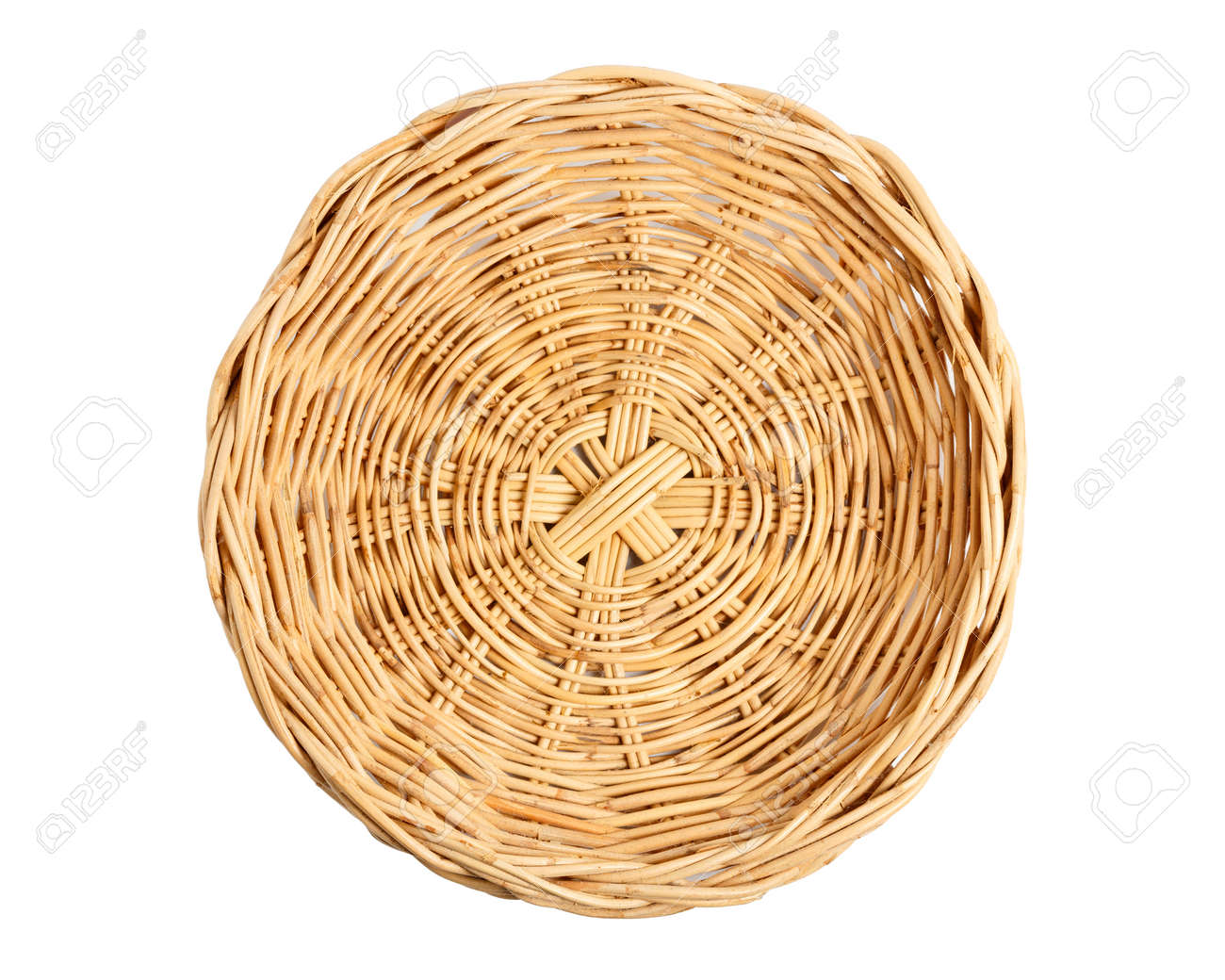 Empty Basket, Wicker baskets, Bamboo basket on white background. Top view. - 165180466