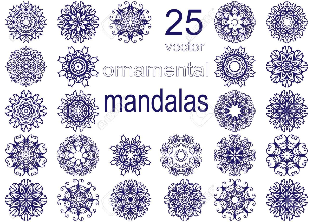 set of abstract circular patterns or mandalas graphic template