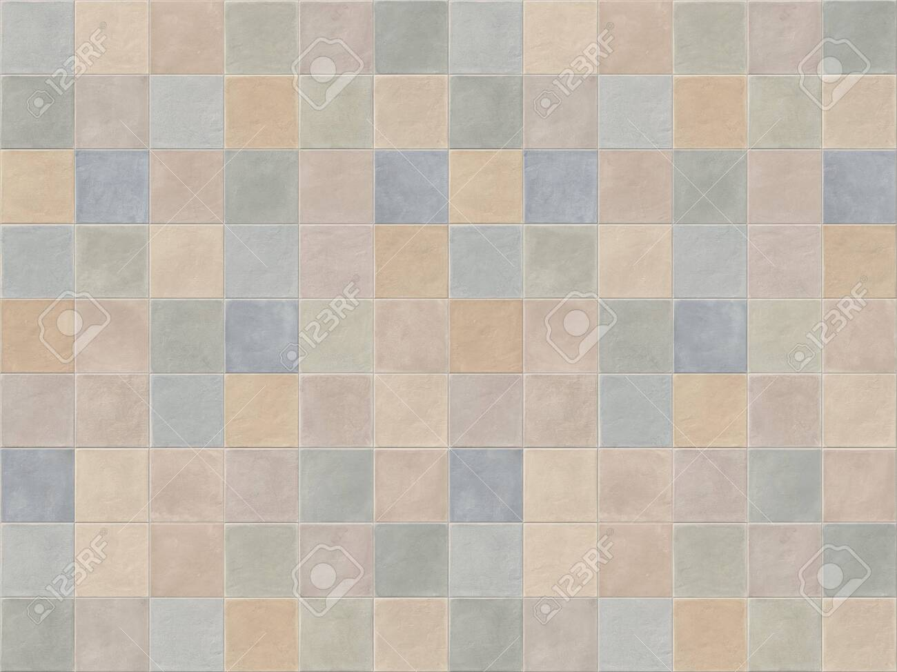 Pastel Beige Blue Pink And Green Square Ceramic Mosaic Tiles Stock Photo Picture And Royalty Free Image Image 119566510