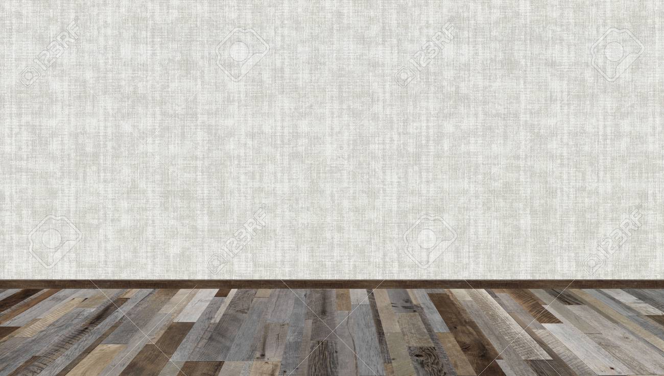 Empty Living Room With Grey Vintage Wooden Floor And Grey Wallpaper On The Wall 3d Rendering Illustration Of Empty Room For Design Interior