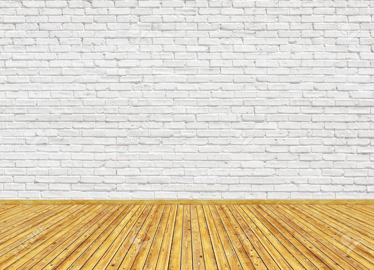 3D rendering mockup of empty living room with vintage wooden parquet floor and white painted brick wall. Can be used for design interior. - 135415925
