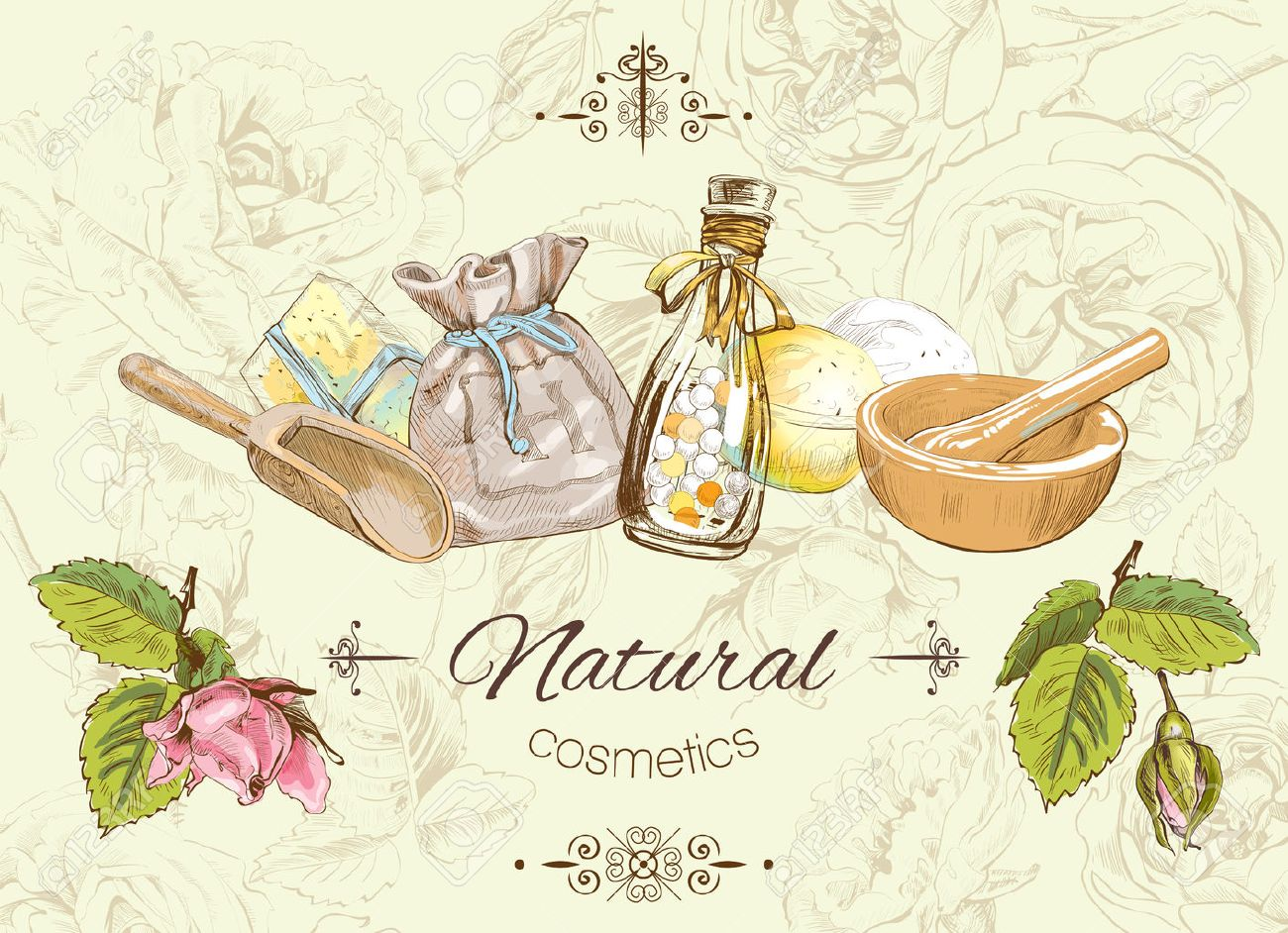 Vector natural banner with wild flowers and herbs. Background design for cosmetics, store, beauty salon, natural and organic products. Can be used as logo design - 57793636