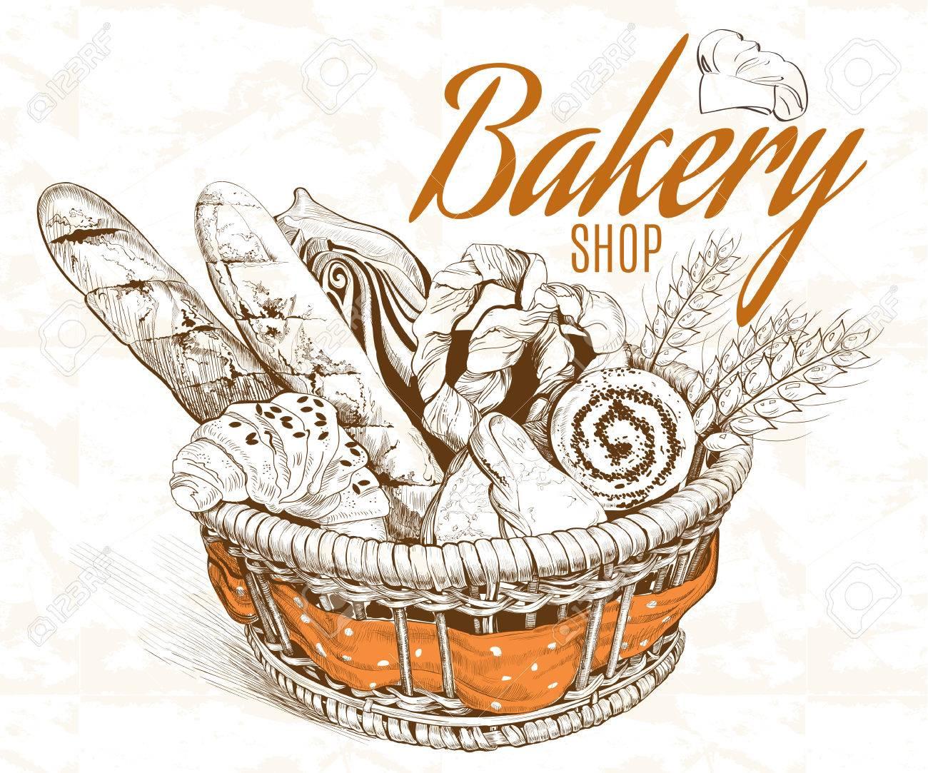 Vintage graphic style bakery basket. Vector illustration - 58011461