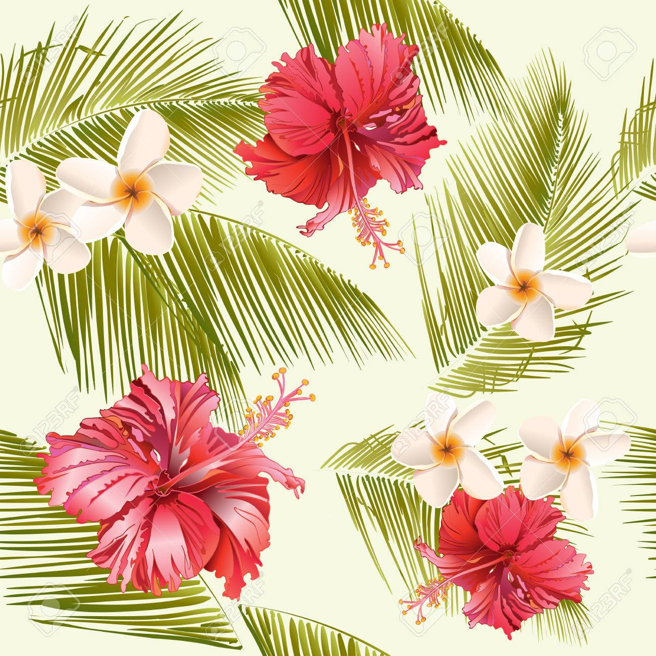 Tropical flowers and palm leaves seamless patternsign for tropical flowers and palm leaves seamless patternsign for cosmetics spa salon summer izmirmasajfo Gallery