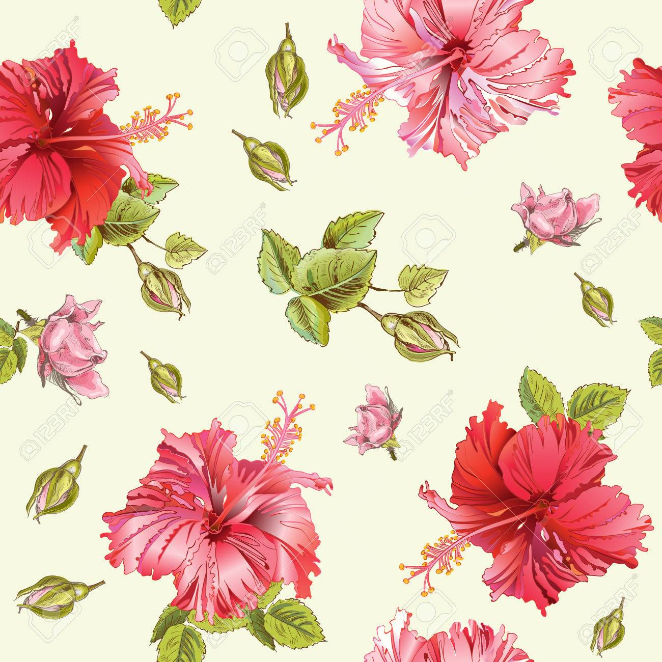 Vector Seamless Pattern With Hibiscus Flowersckground Design
