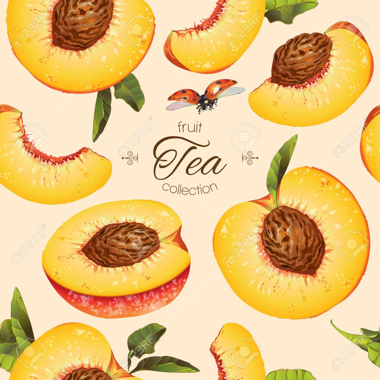 peach seamless pattern. Background design for tea, ice cream, natural cosmetics, candy and bakery with peach filling, health care products. Best for textile, wrapping paper. - 60555282