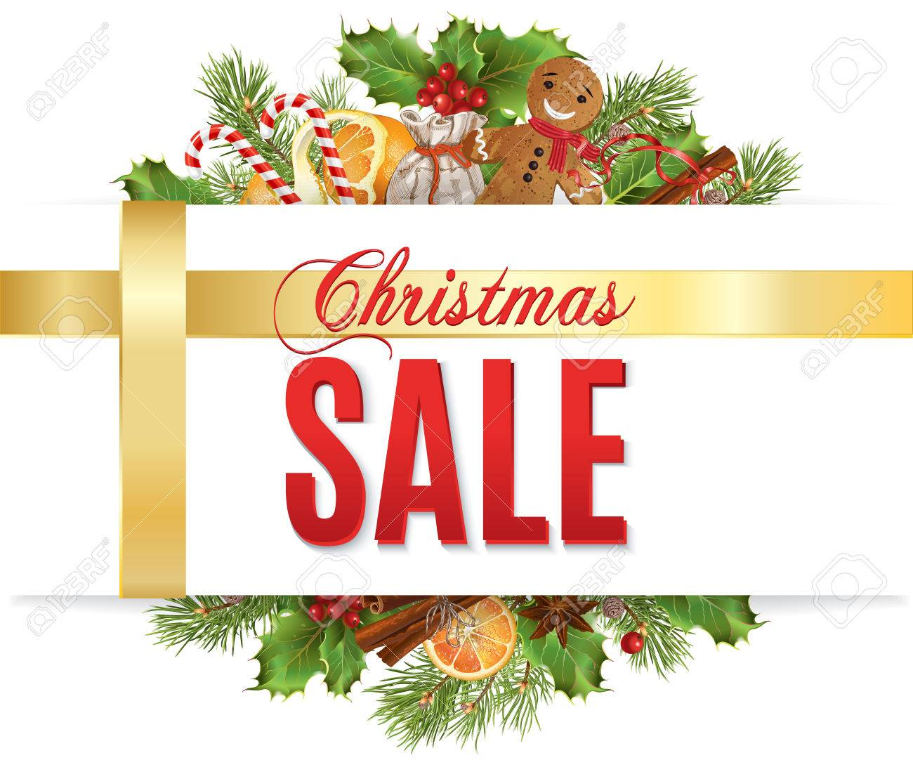 Christmas Sale With Traditional Decoration Christmas Tree Branches Royalty Free Cliparts Vectors And Stock Illustration Image 64575822