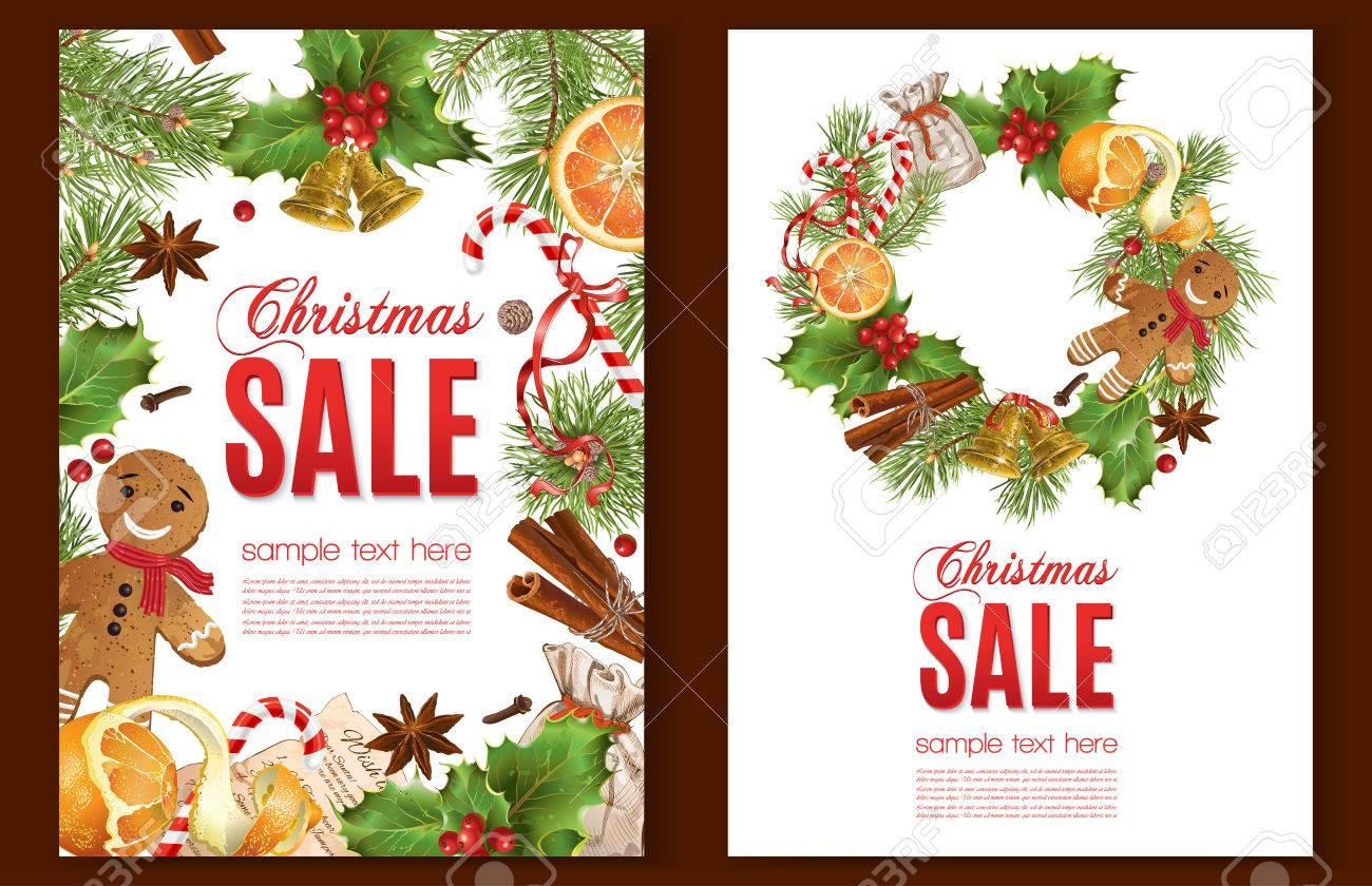 Weihnachtsverkauf Mit Traditioneller Dekoration, Weihnachtsbaum ...