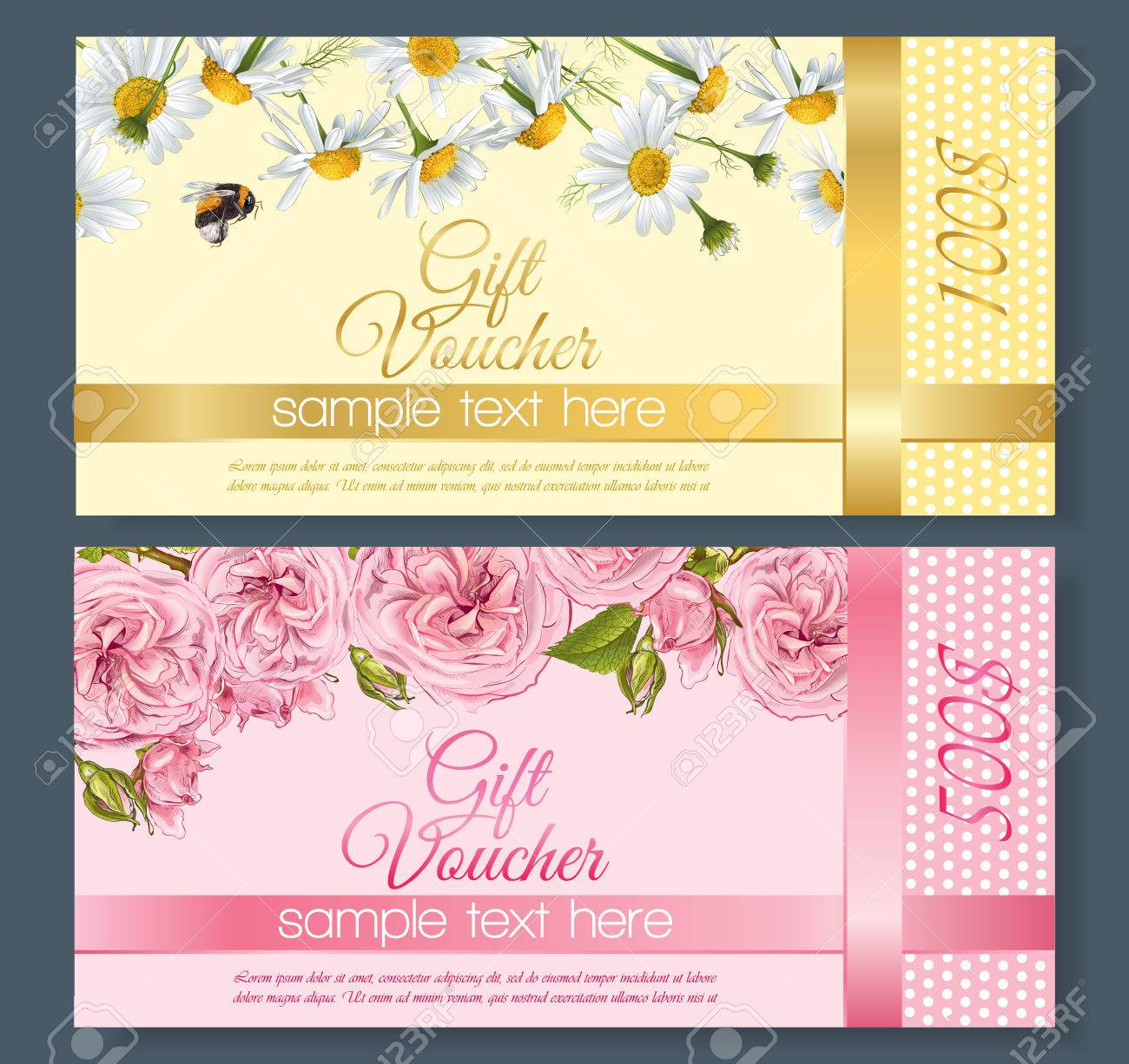 Natural Cosmetics Gift Vouchers With Flowers Design For Cosmetics Royalty Free Cliparts Vectors And Stock Illustration Image 64576571