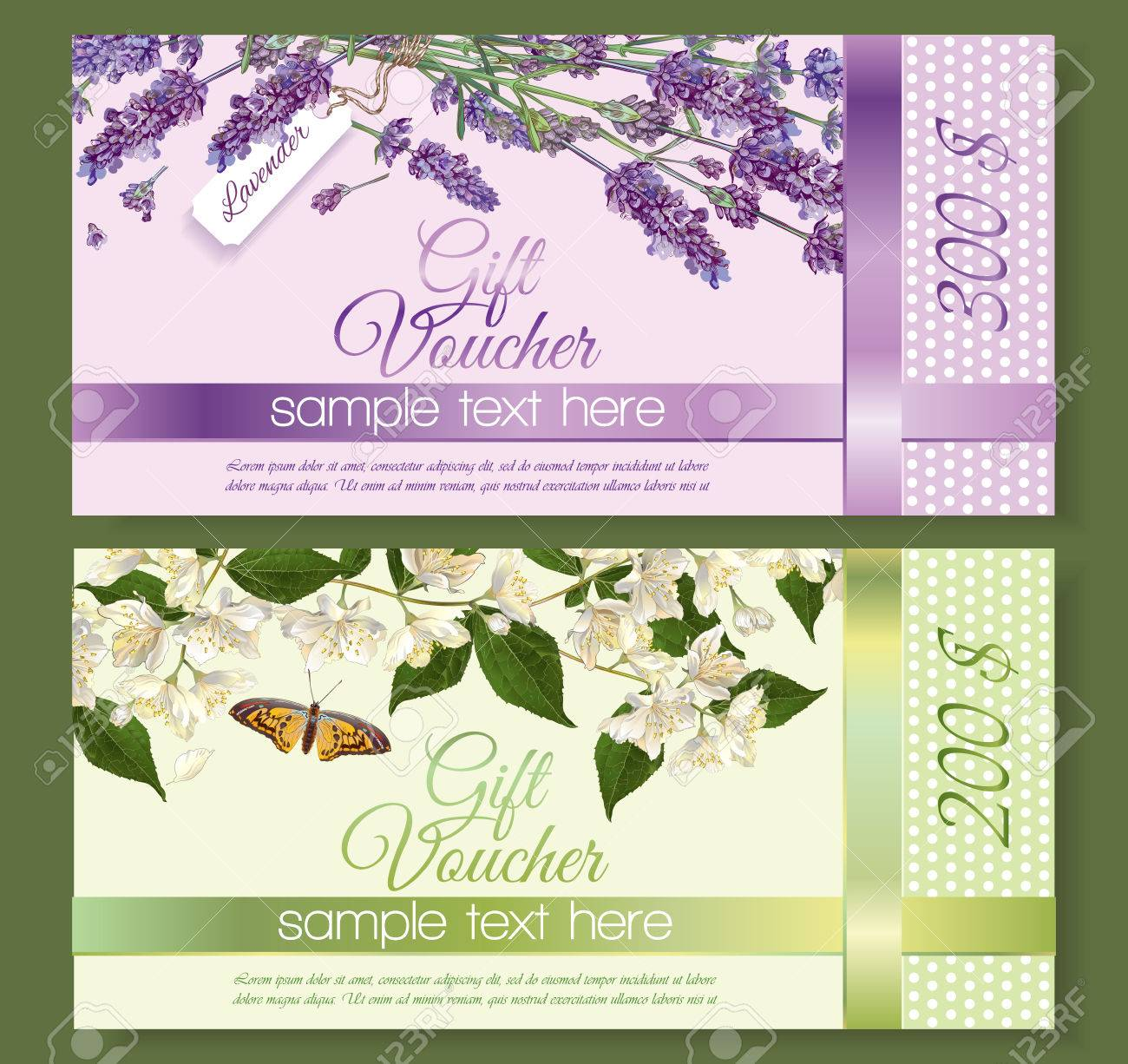 Natural Cosmetics Gift Vouchers With Flowers Design For Cosmetics Royalty Free Cliparts Vectors And Stock Illustration Image 64576574