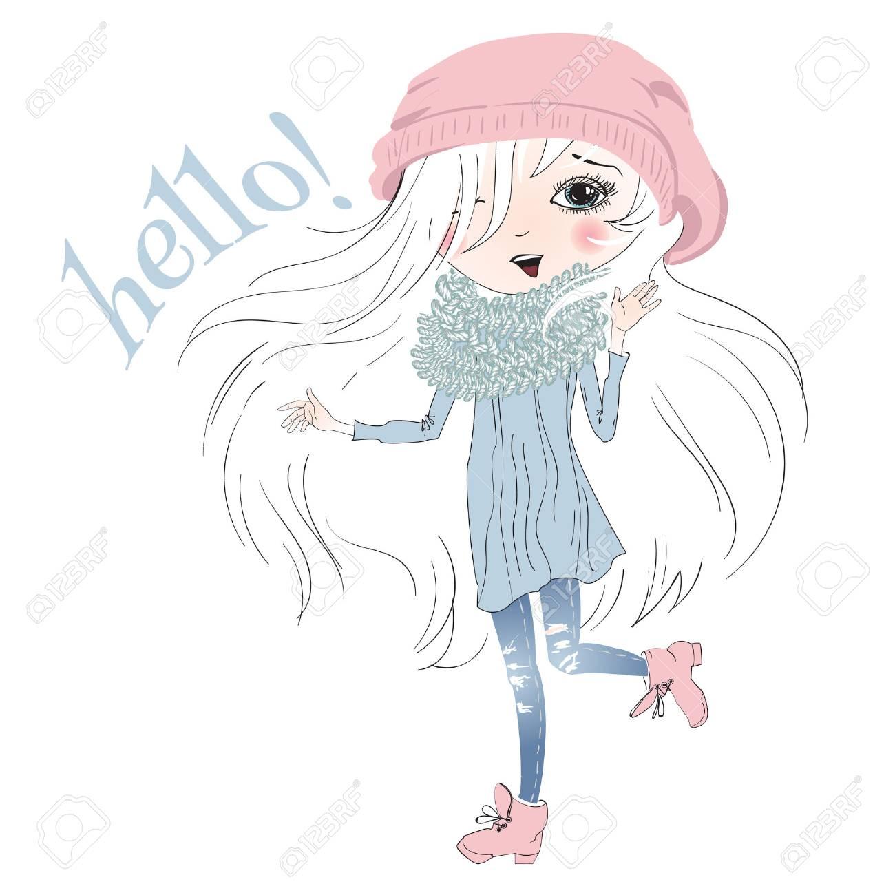 白で隔離かわいい女の子のイラスト 漫画スケッチ スタイル女の子美しい白髪と言うこんにちは T シャツ プリントに最適のイラスト素材 ベクタ Image