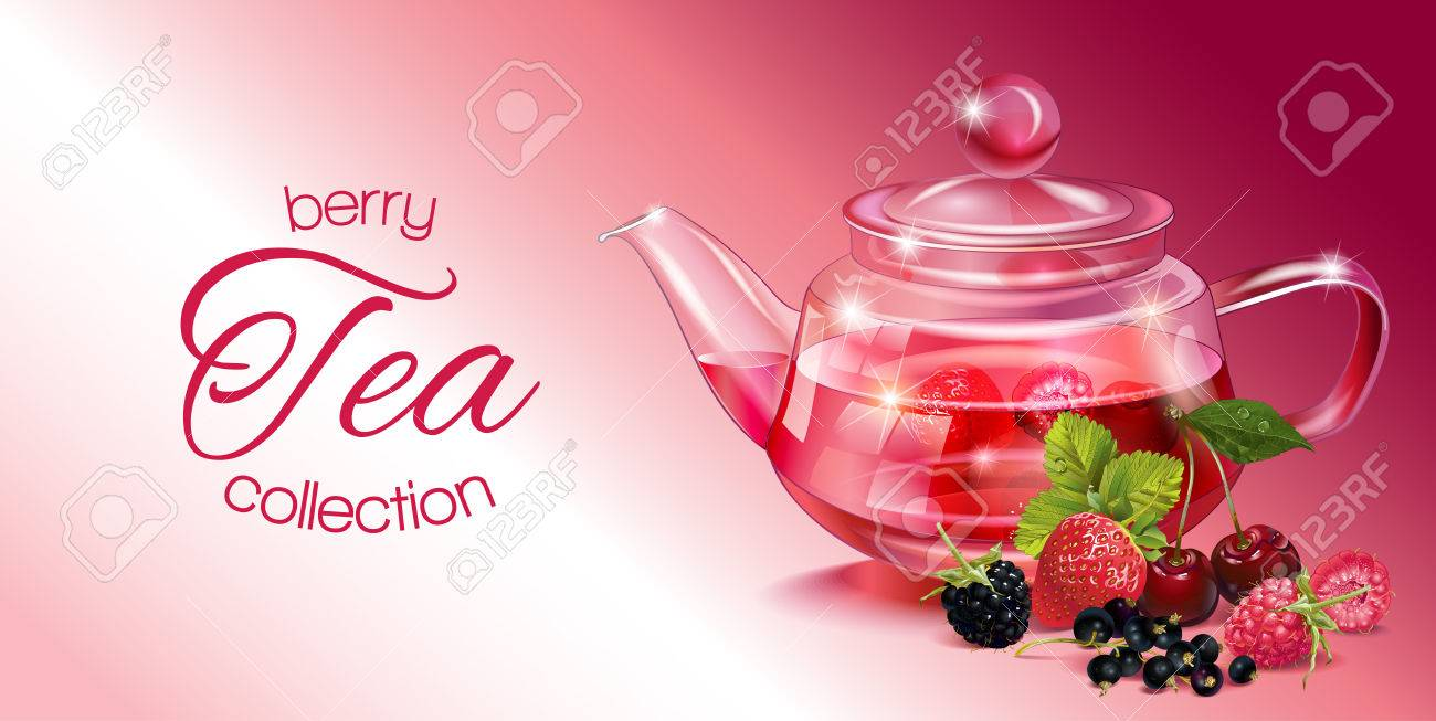 Vector Fruit Tea Banner With Transparent Teapot And Berries Royalty Free Cliparts Vectors And Stock Illustration Image 66322850