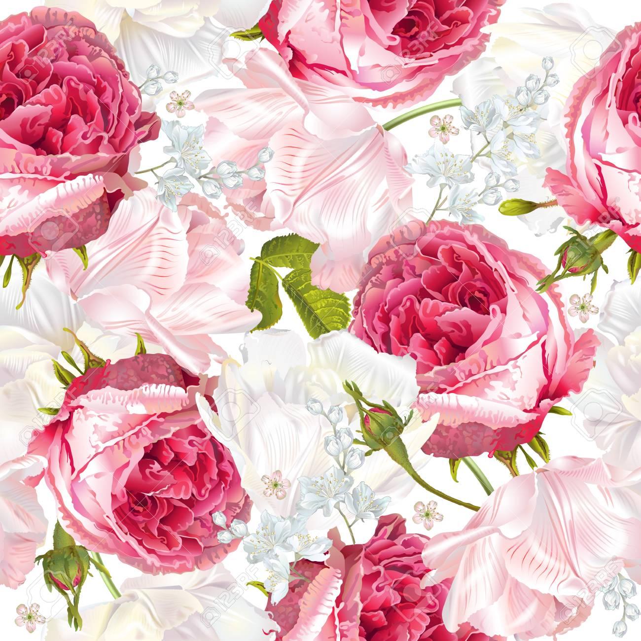 Romantic flowers vertical banner - 77238612