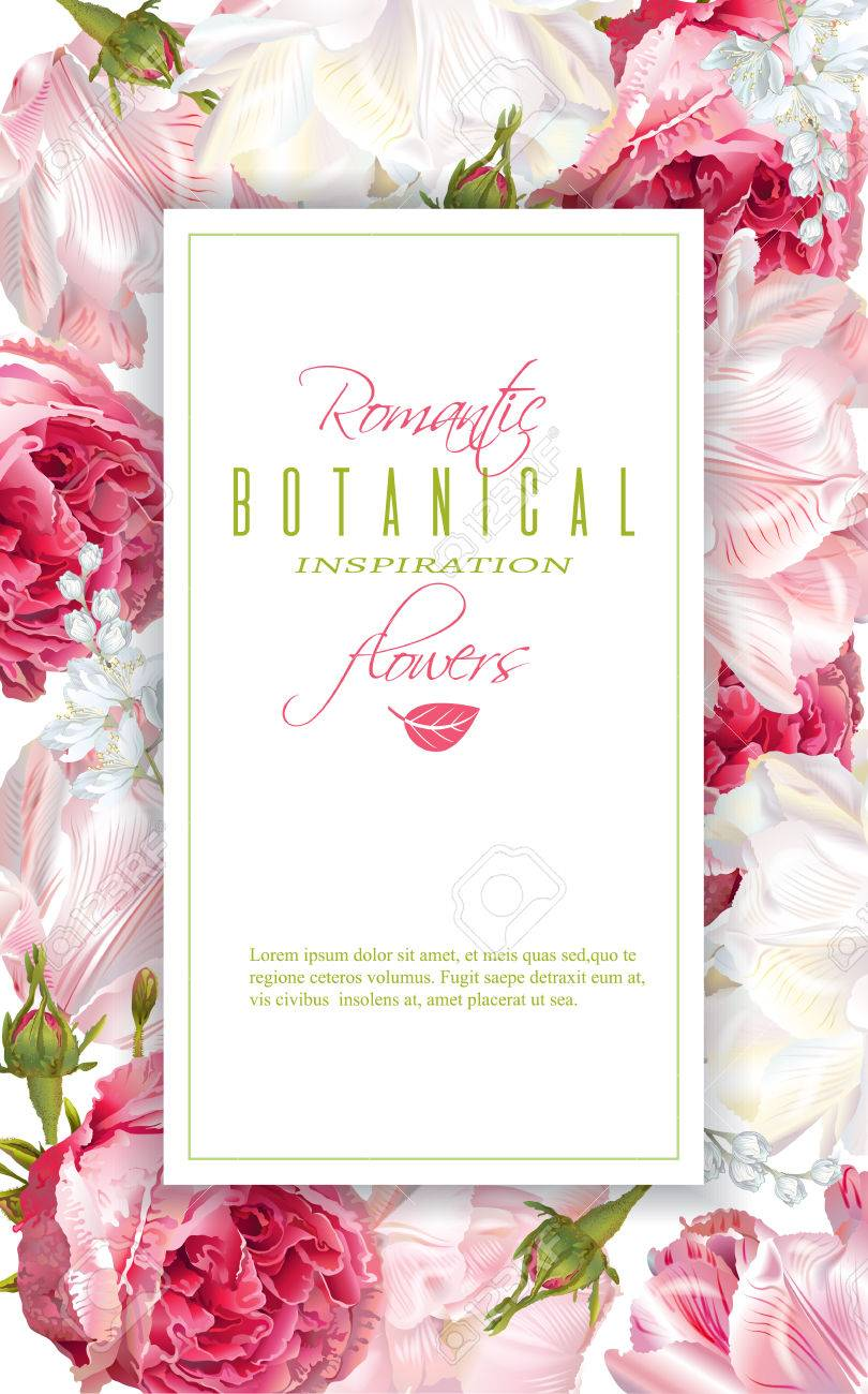 Romantic flowers vertical frame - 78660918