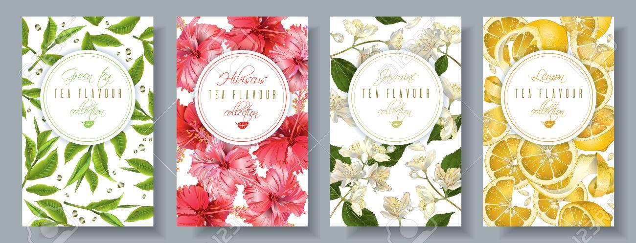 Tea flavour banners set - 80538077