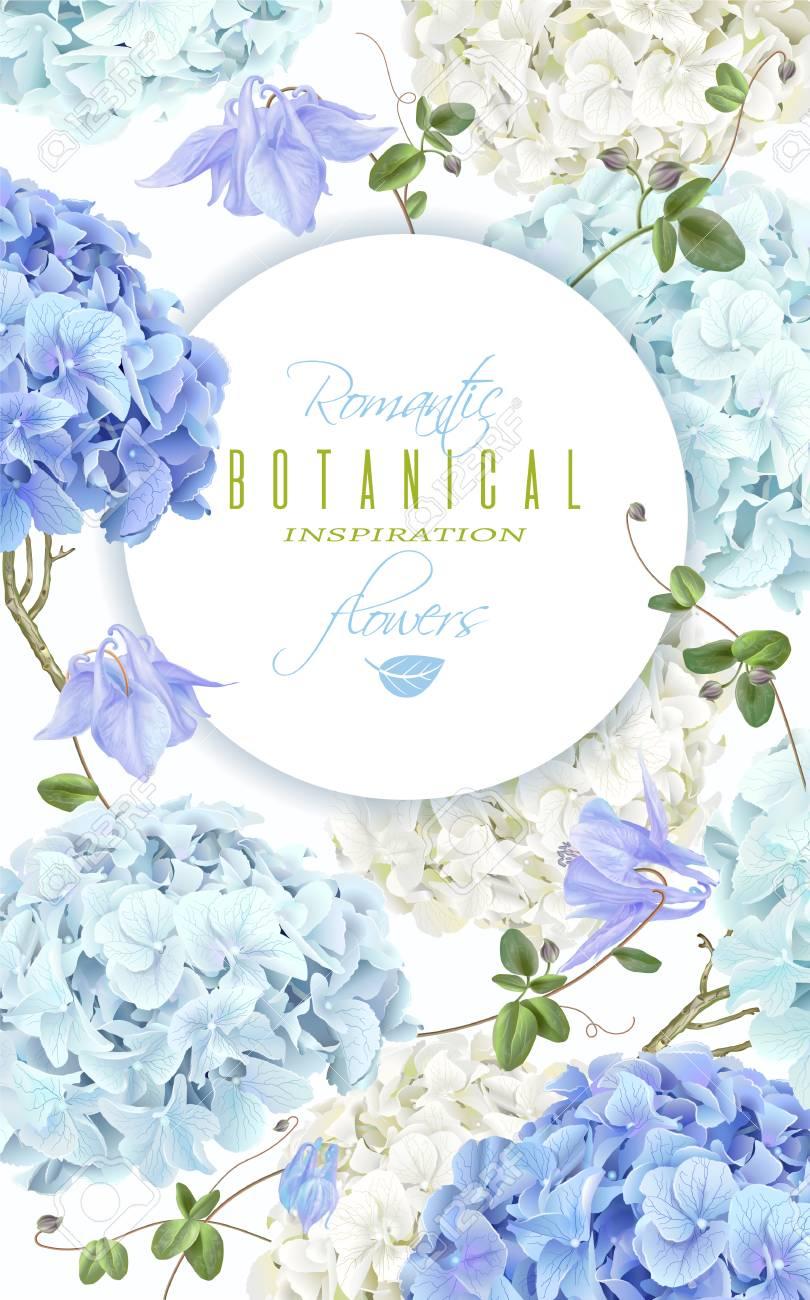 Hydrangea banner blue - 87575666