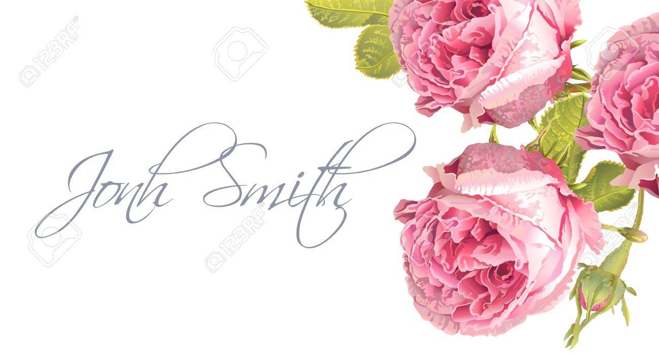 A Vector Wedding Name Card With Garden Rose Flowers On White