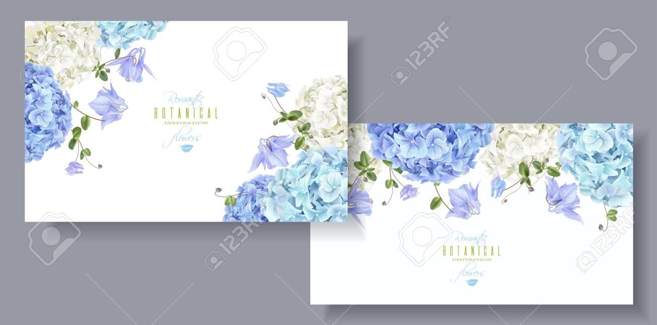 Hydrangea flowers horizontal banners blue - 95655496