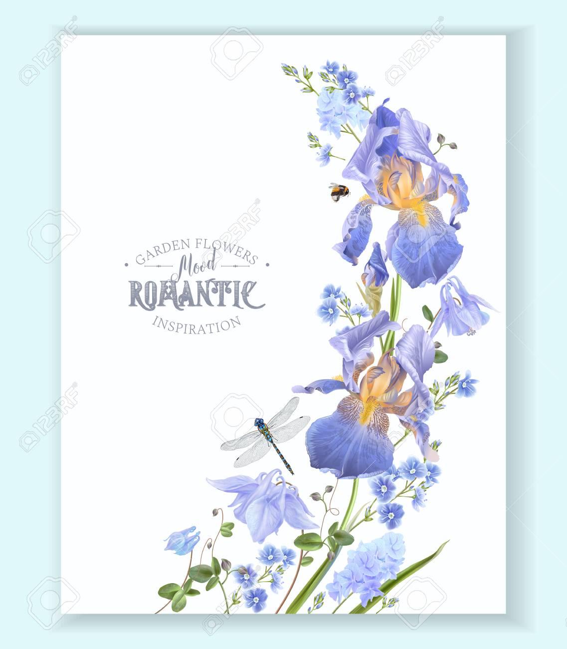 Blue flower wave border illustration on white background. - 97946896