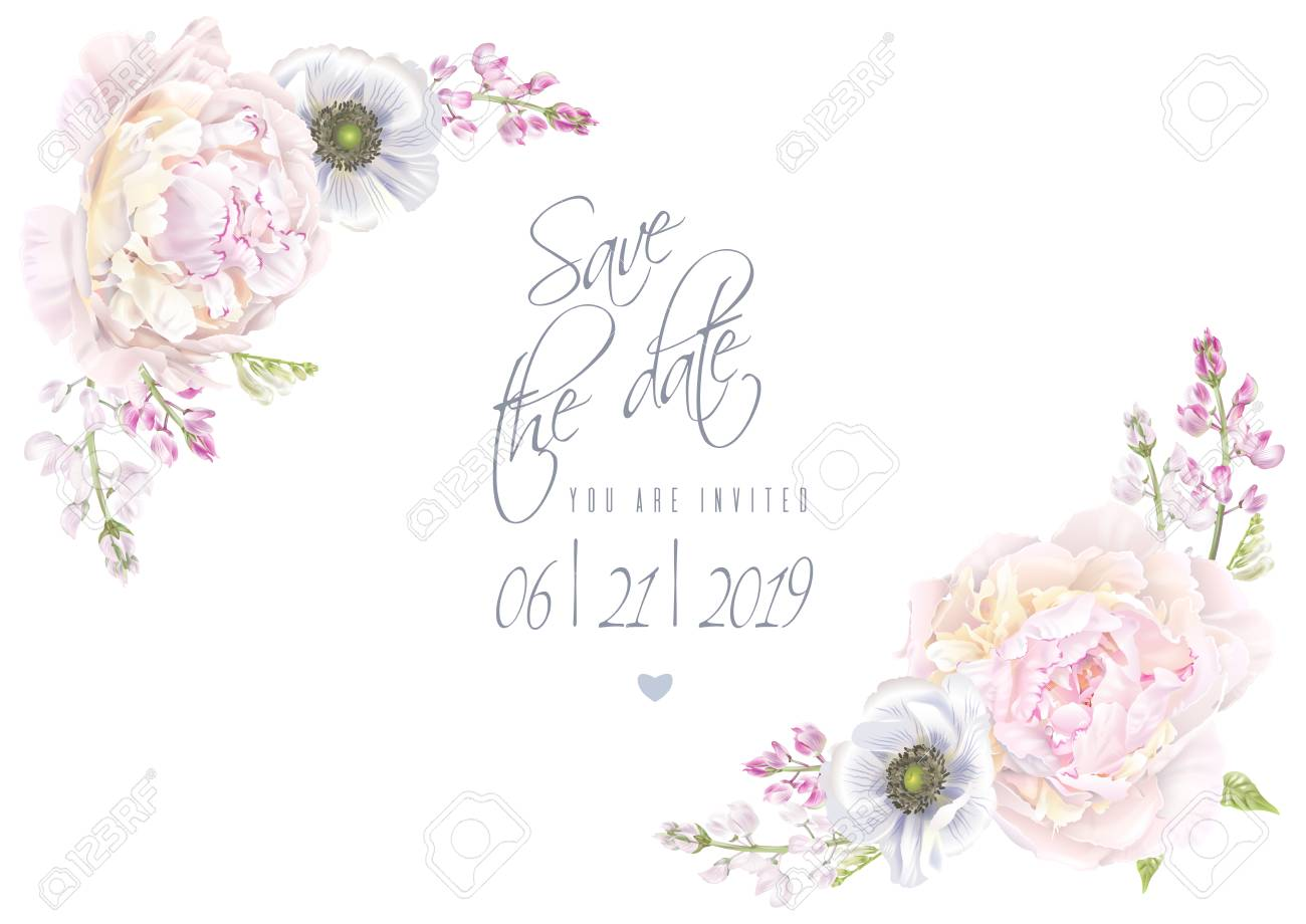 Peony anemone save the date template Vector illustration. - 98411295