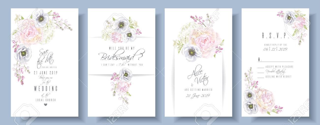 Peony anemone wedding invite set - 99076489