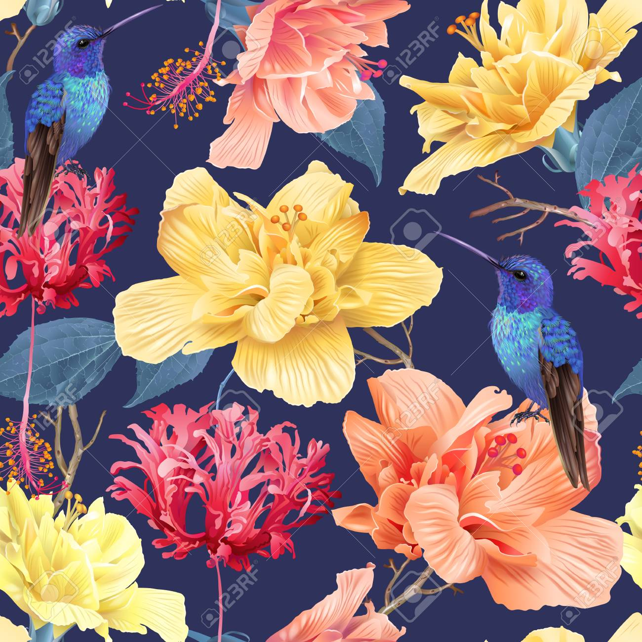 Tropic floral pattern background - 104024302