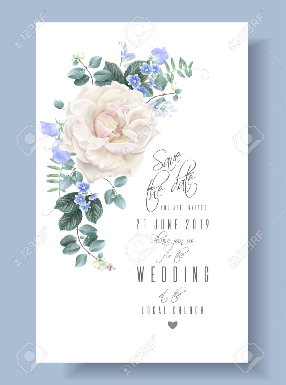 Vector Vintage Wedding Invitation Card With White Garden Rose